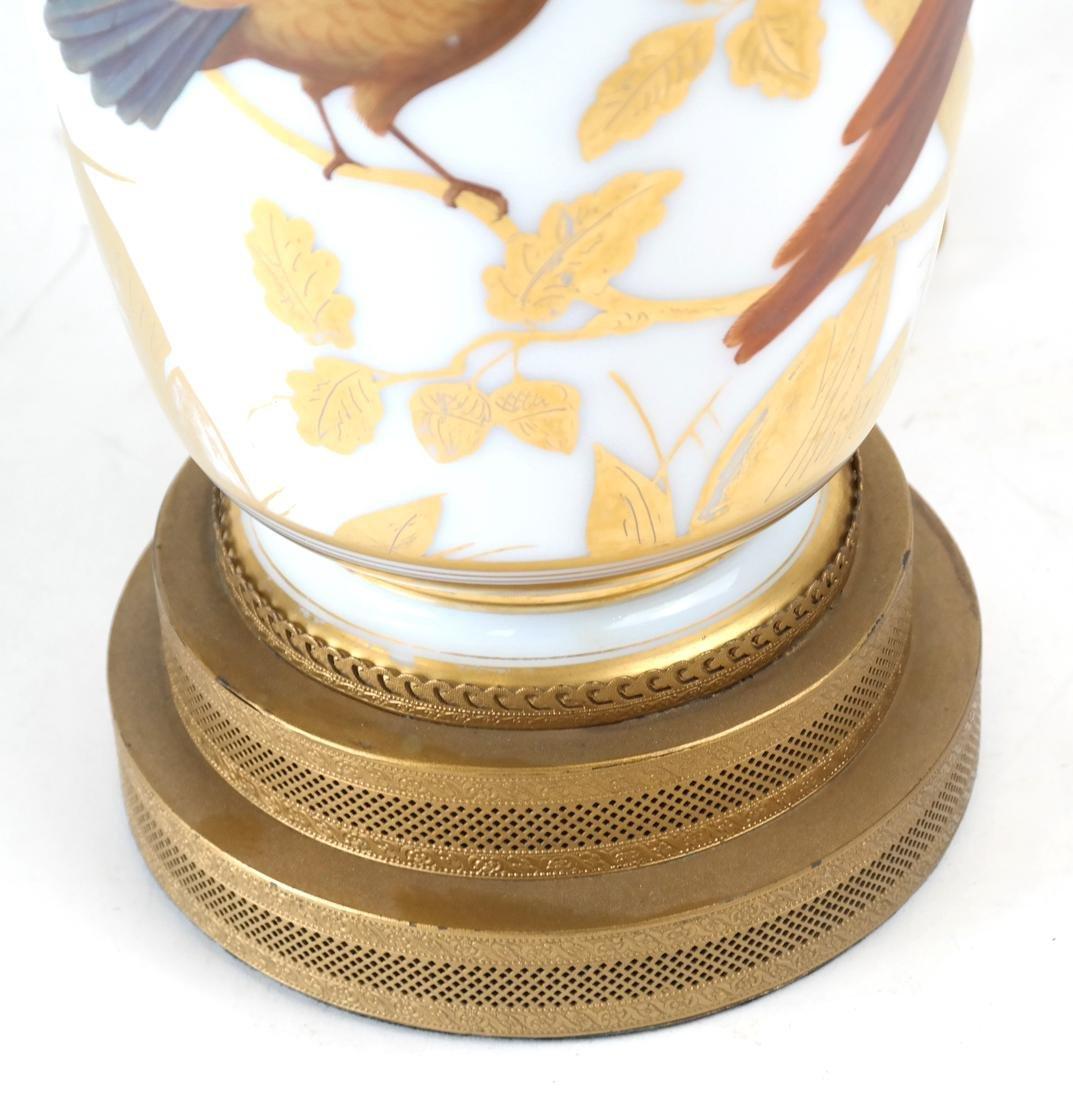 Parcel Gilt Enameled Opaline Glass  Vase Lamp - 4