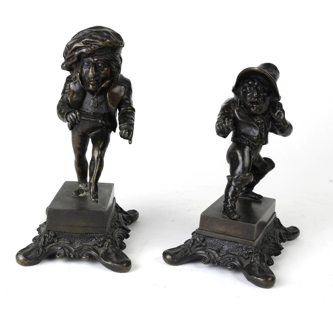 Pair Bronze Figural Toothpick Holders