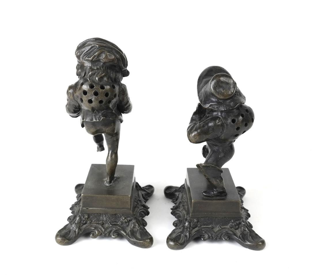 Pair Bronze Figural Toothpick Holders - 2