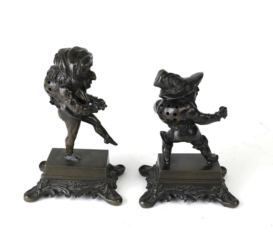 Pair Bronze Figural Toothpick Holders - 3