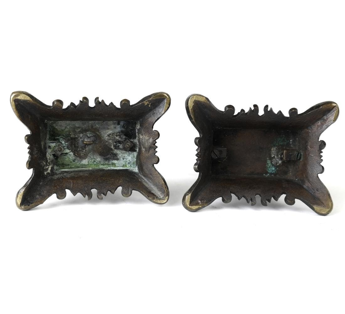 Pair Bronze Figural Toothpick Holders - 5