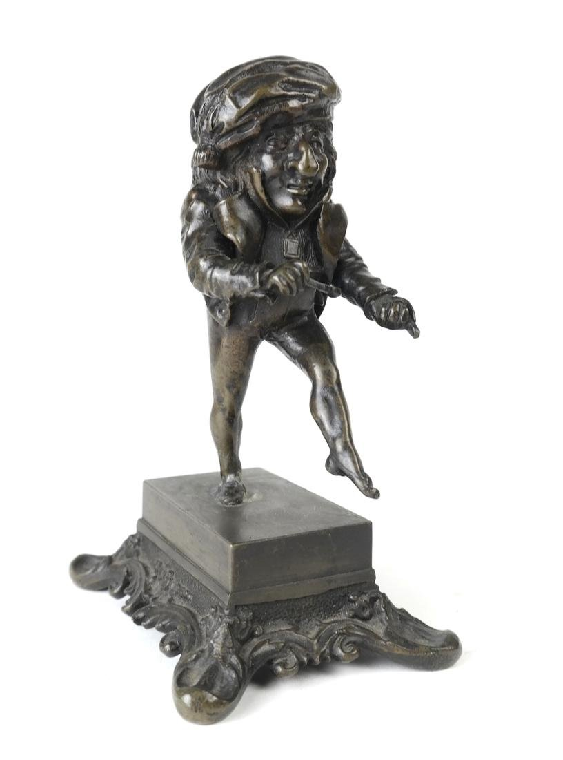 Pair Bronze Figural Toothpick Holders - 8