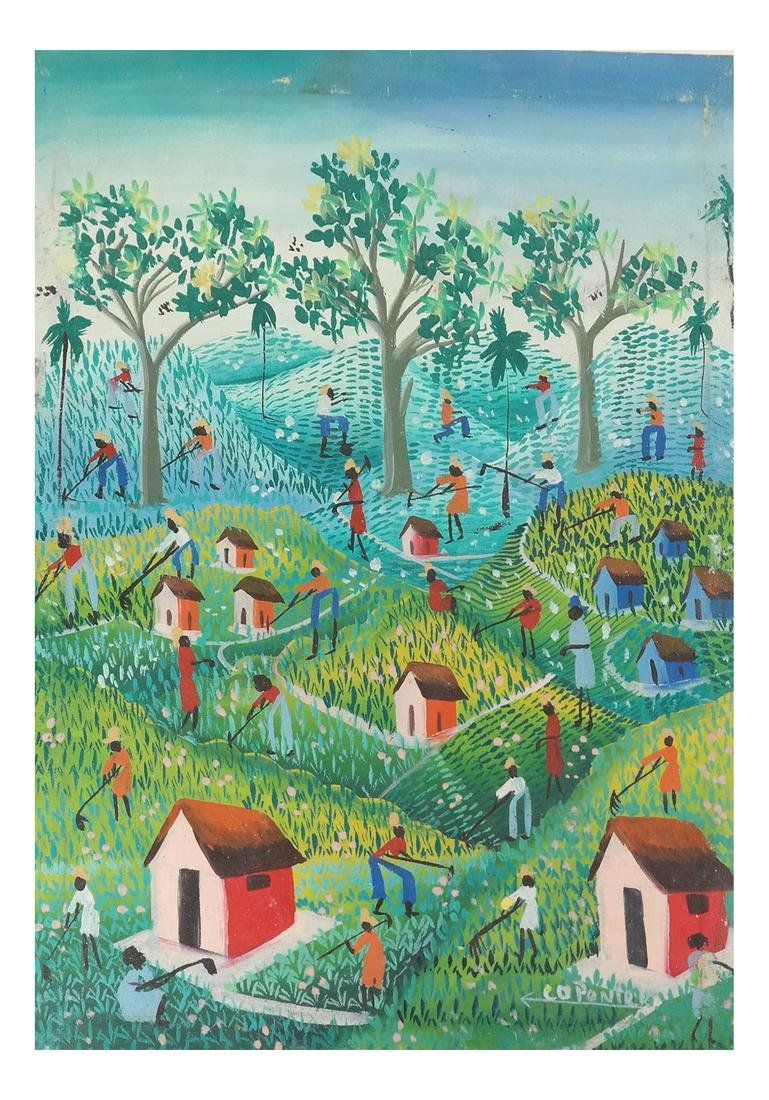 Vintage Haitian Agricultural Scene - Oil Painting