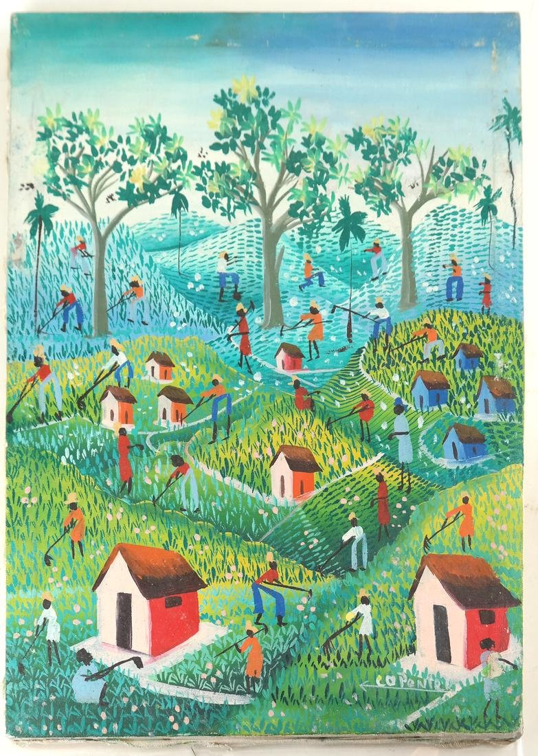 Vintage Haitian Agricultural Scene - Oil Painting - 2