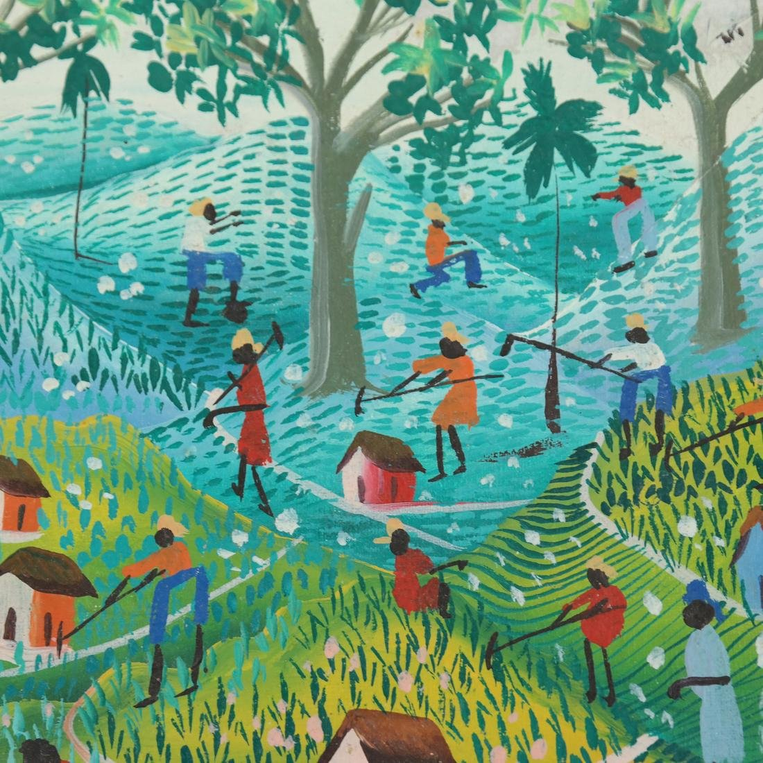 Vintage Haitian Agricultural Scene - Oil Painting - 5