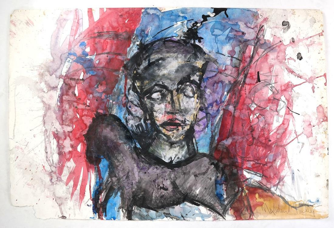 Malcolm Morley, Head of a Figure - Mixed Media