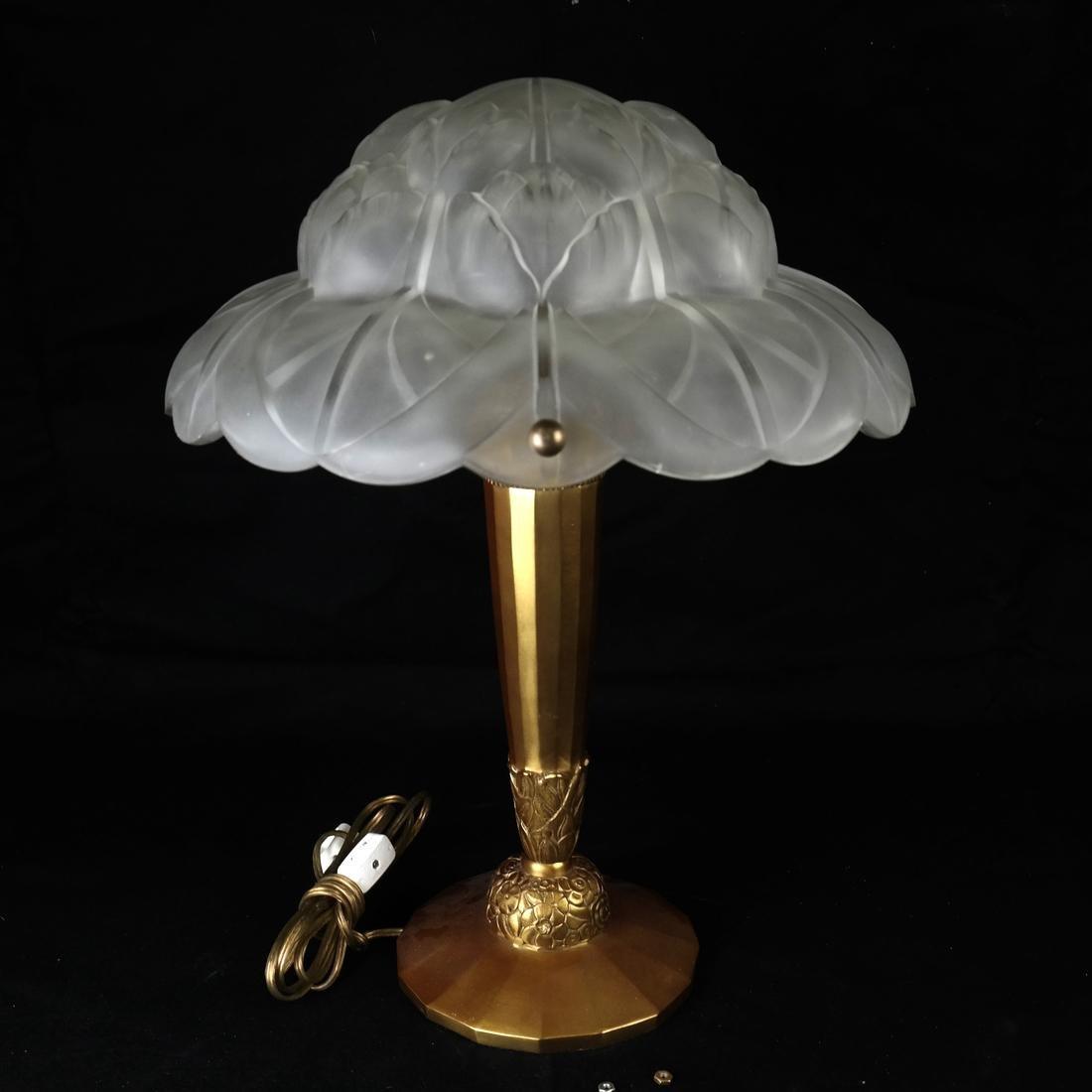 Art Nouveau Glass & Bronze Lamp
