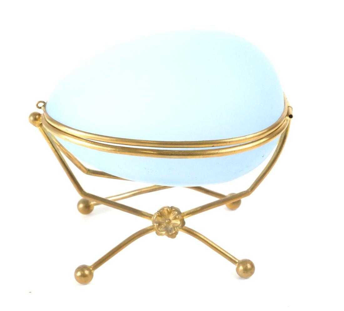 French Blue Frosted Glass Egg Box - 5