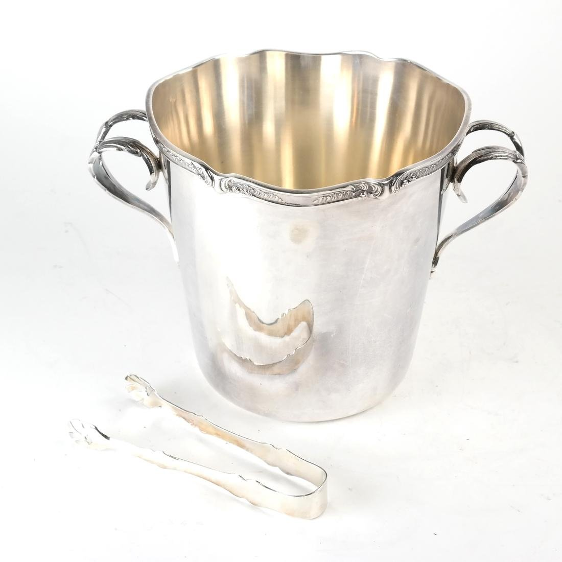 Continental Plated Ice Bucket, Tongs