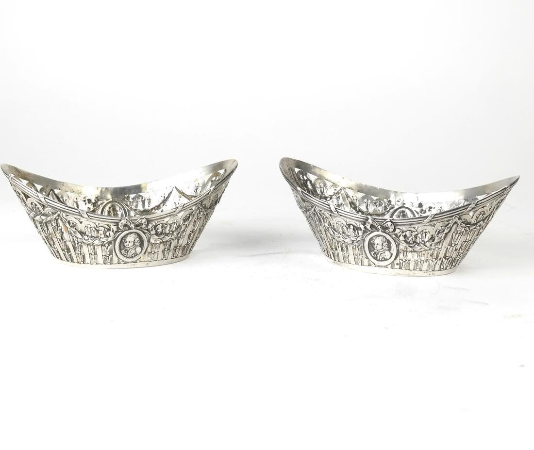 Pair German .800 Silver Oval Bowls