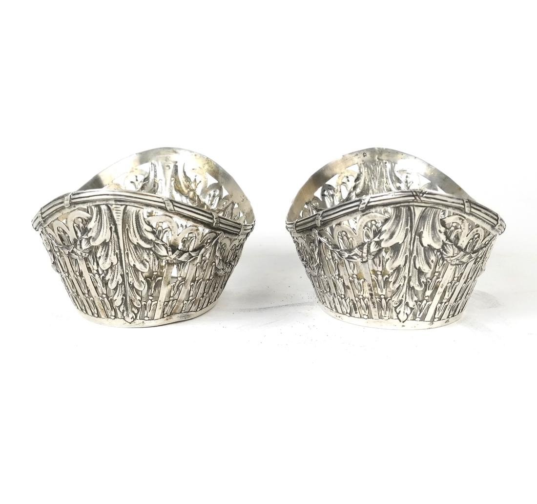 Pair German .800 Silver Oval Bowls - 2