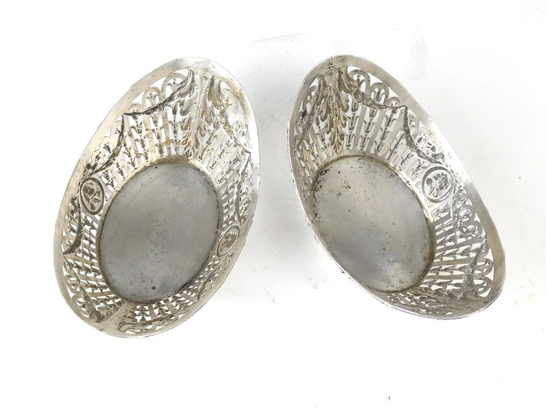 Pair German .800 Silver Oval Bowls - 6