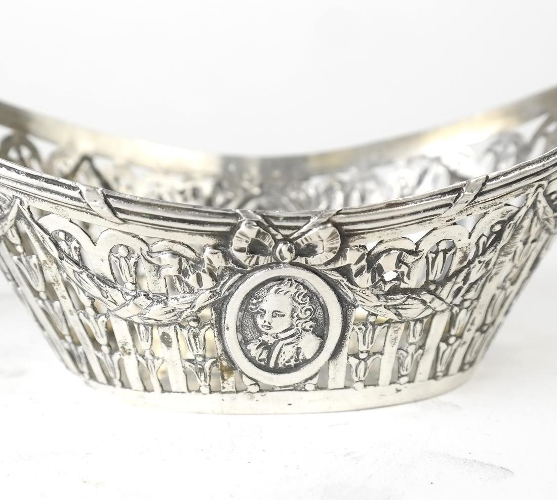 Pair German .800 Silver Oval Bowls - 7