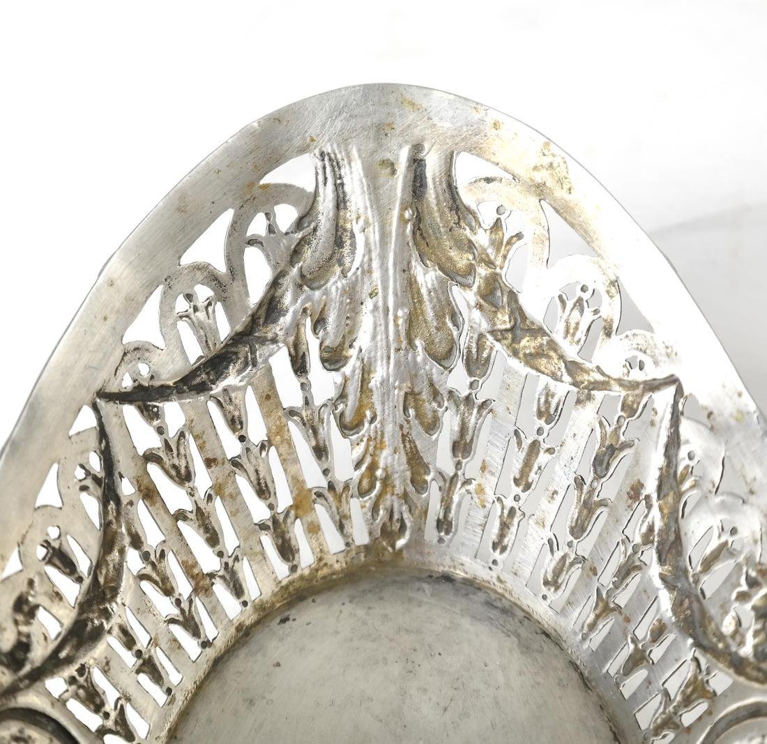 Pair German .800 Silver Oval Bowls - 9