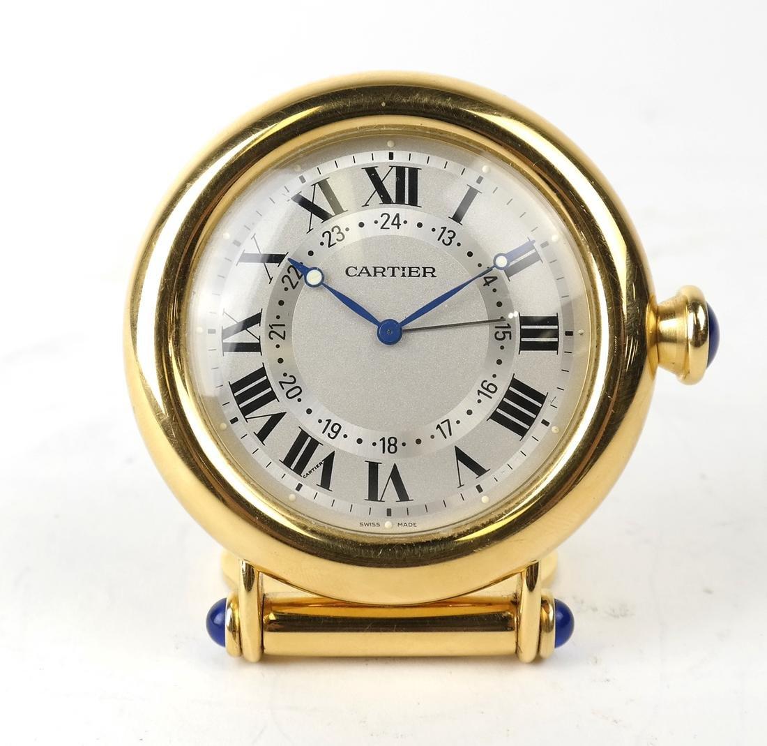 Cartier Gold-Filled Circular Desk Clock