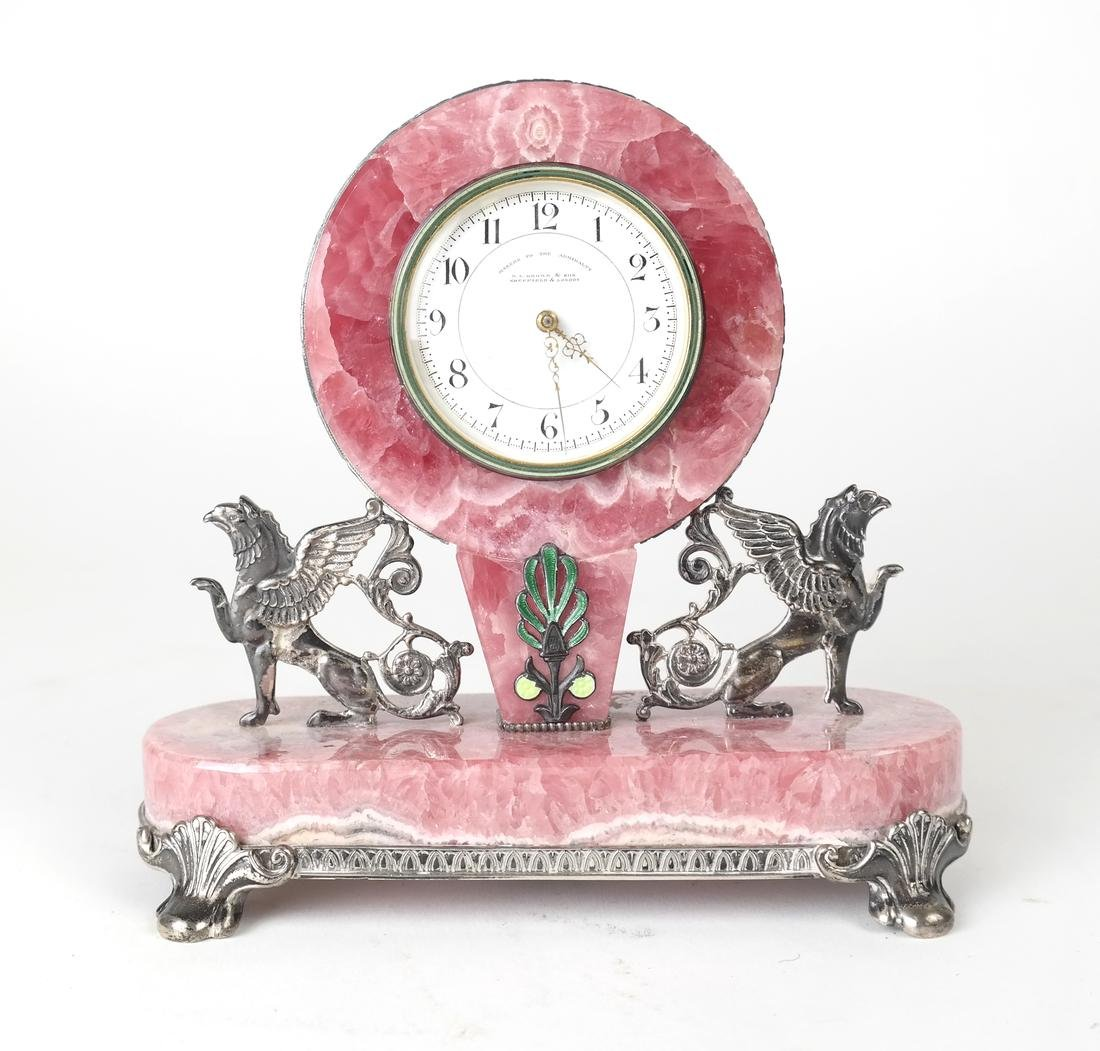 English Sterling & Rose Quartz Clock