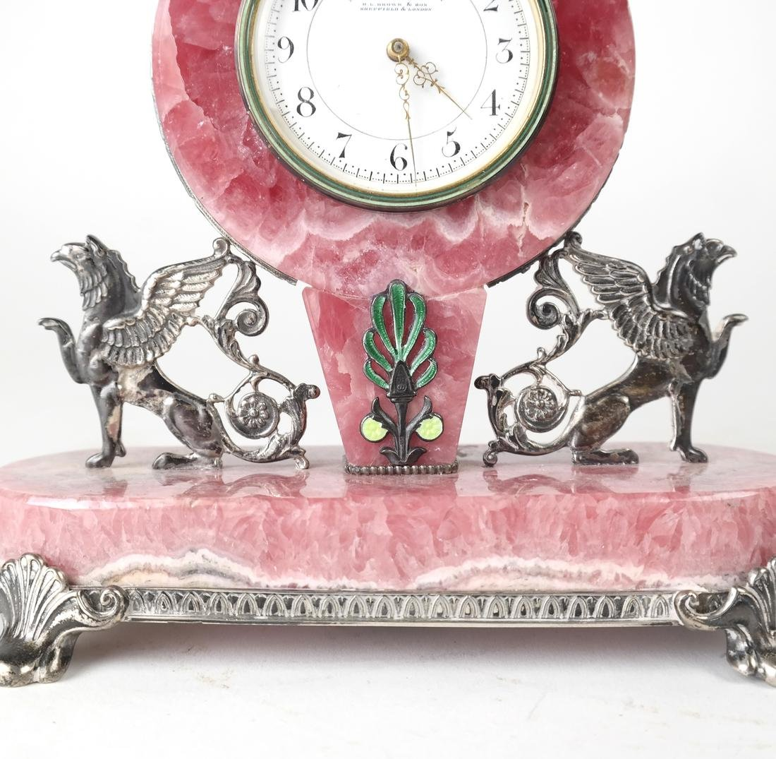 English Sterling & Rose Quartz Clock - 5