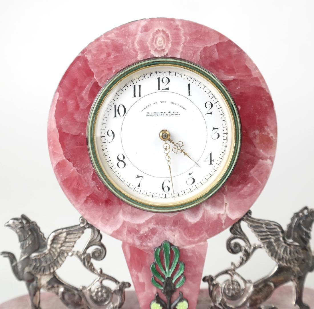 English Sterling & Rose Quartz Clock - 6