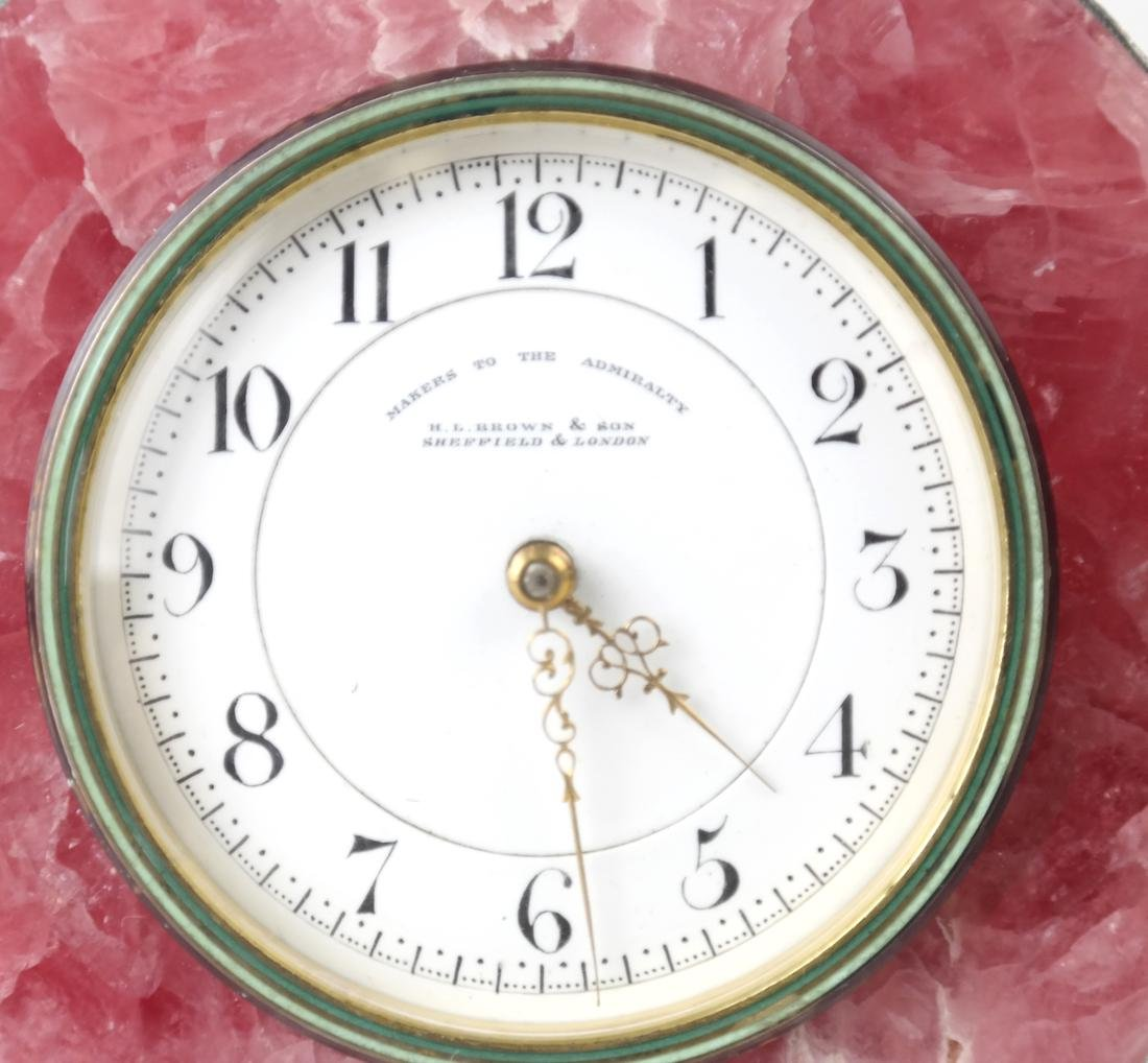 English Sterling & Rose Quartz Clock - 9