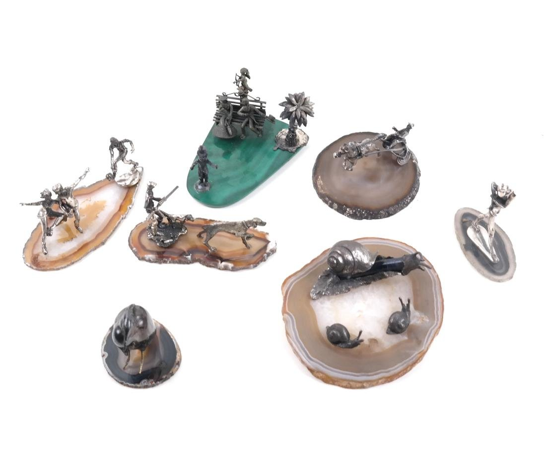 7 Mineral Slices With Miniature Figures