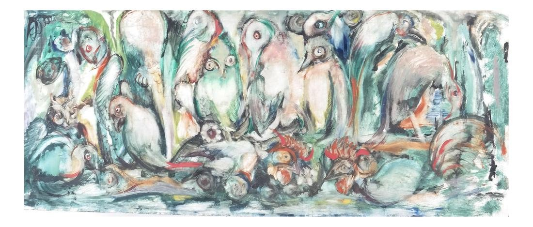 Birds, Oil on Masonite