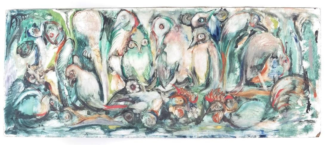 Birds, Oil on Masonite - 2