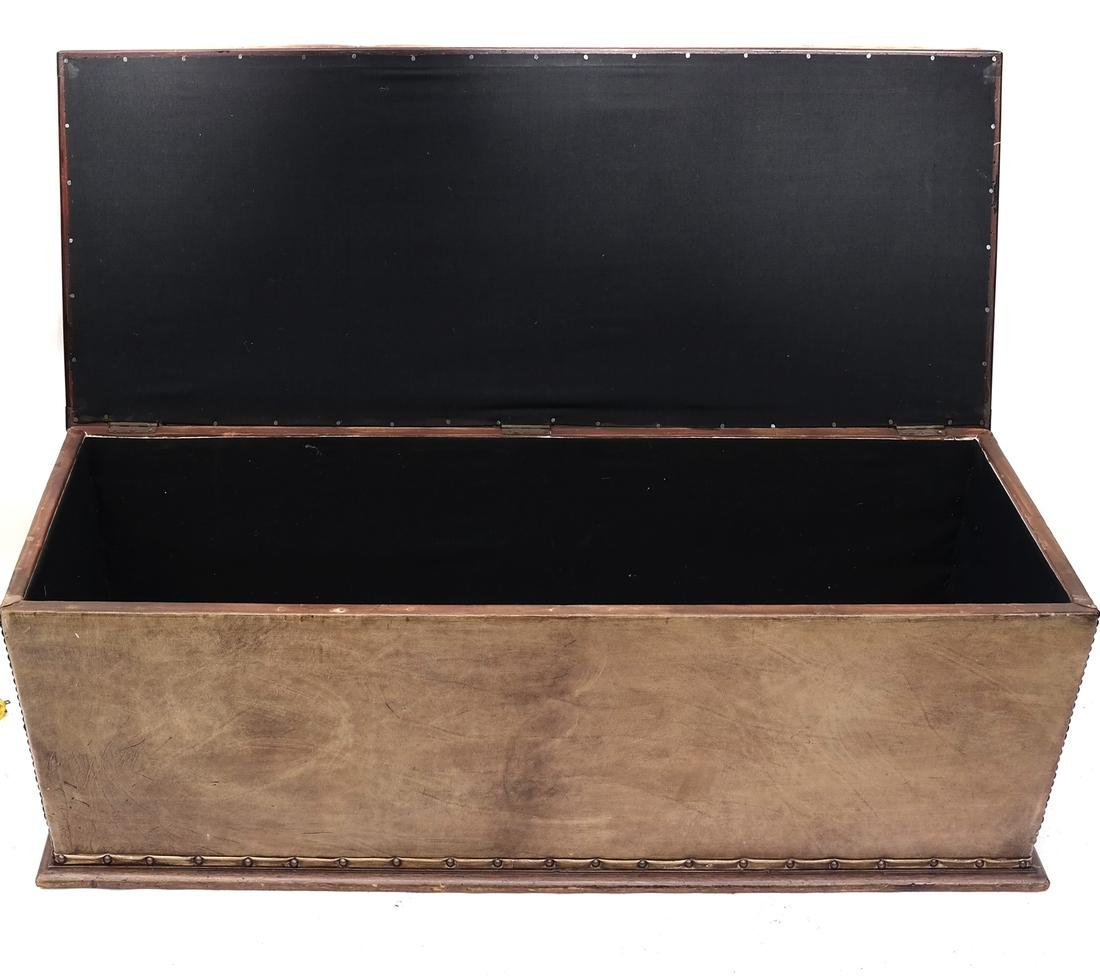 Brown Leather Hinged Trunk - 2