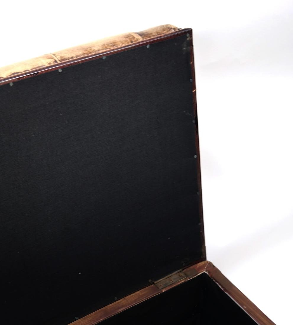 Brown Leather Hinged Trunk - 3