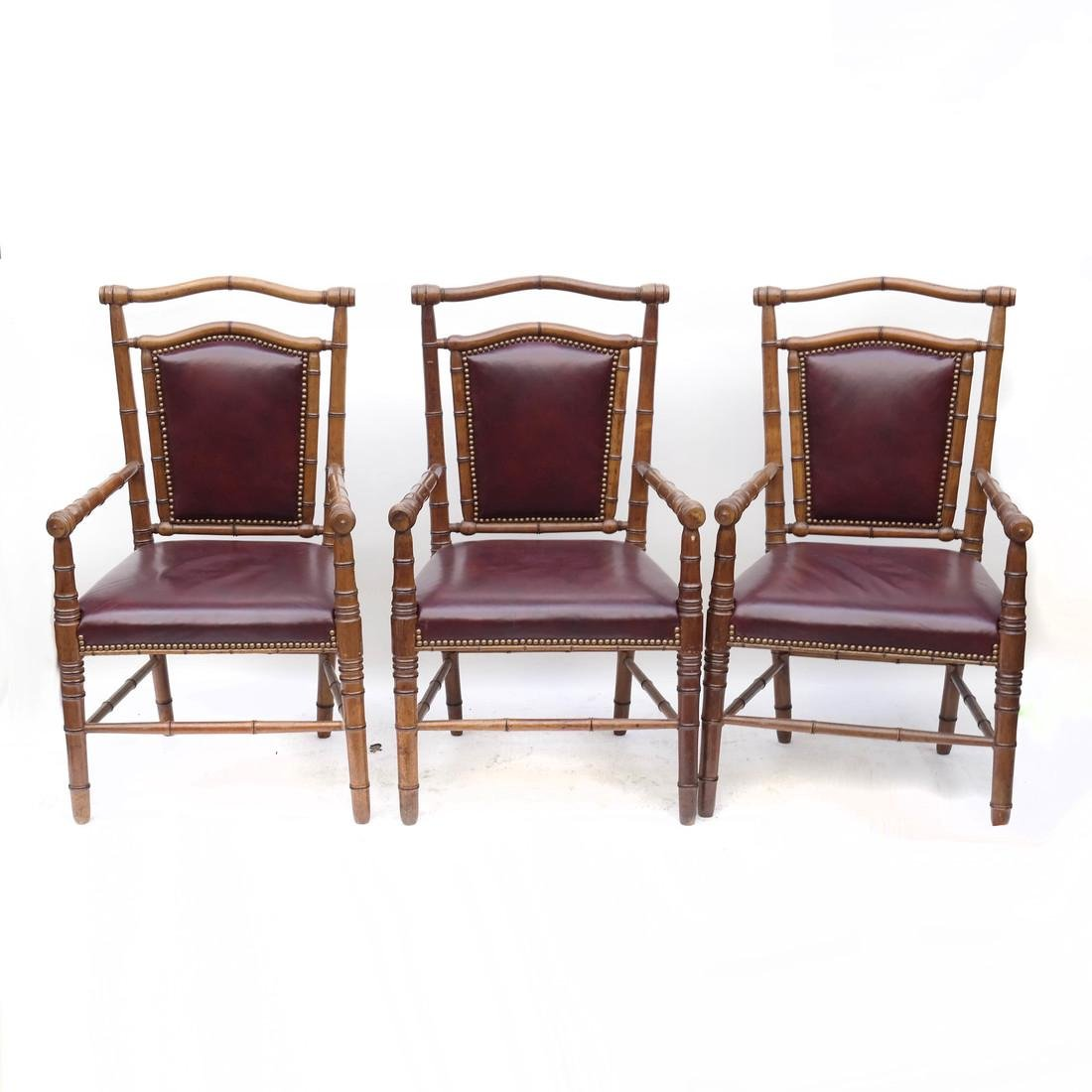 Three Faux Bamboo Armchairs