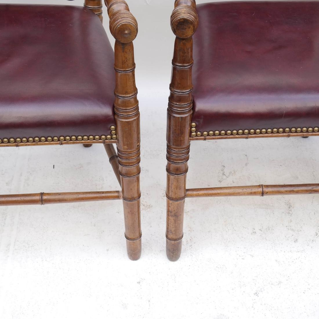 Three Faux Bamboo Armchairs - 5
