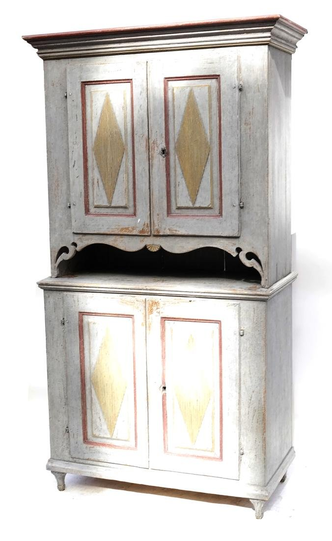 Two-Part Distressed Hutch