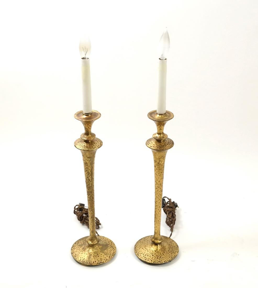 Pair Hammered Brass Candlestick Lamps