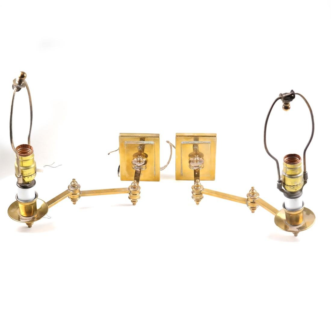 Pair of Adjustable Brass Sconces