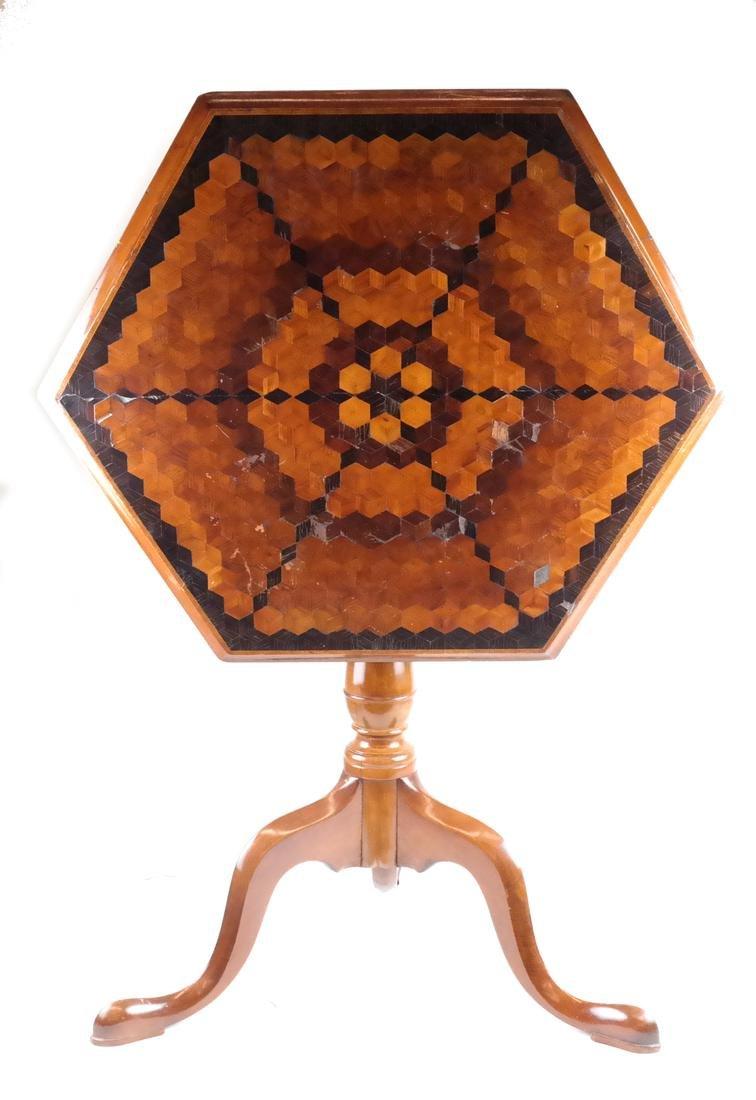 Inlaid Hexagonal Tilt-Top Table