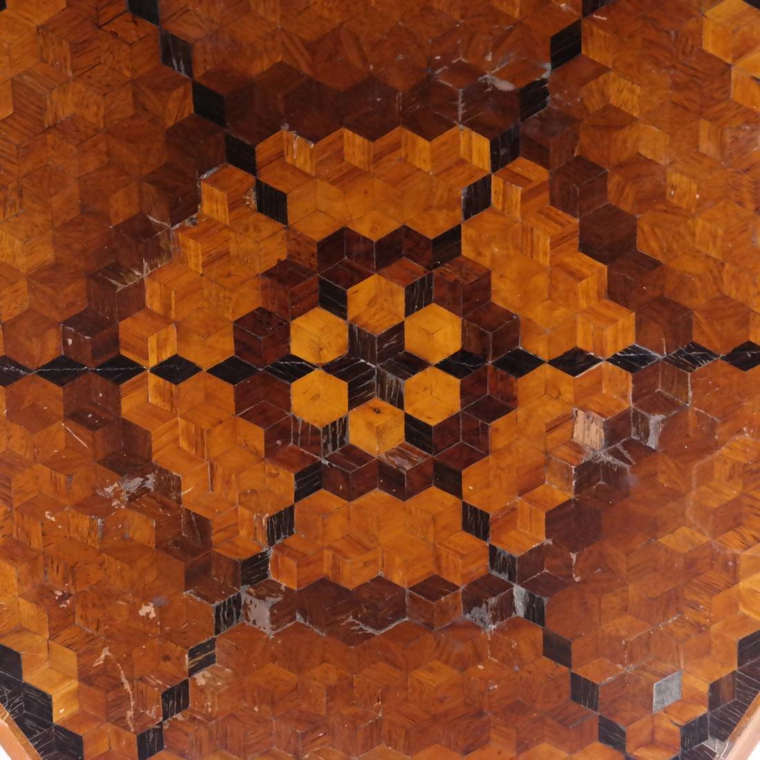 Inlaid Hexagonal Tilt-Top Table - 3