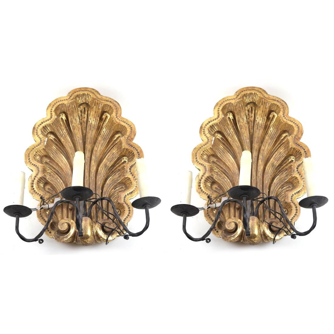 Pair of Shell Carved Sconces
