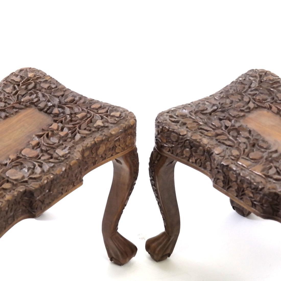 Pair of Chinese Hardwood Stools - 2