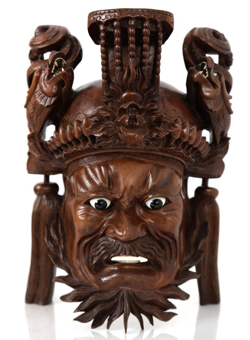 Asian Carved Wood Dragon - Deity Group