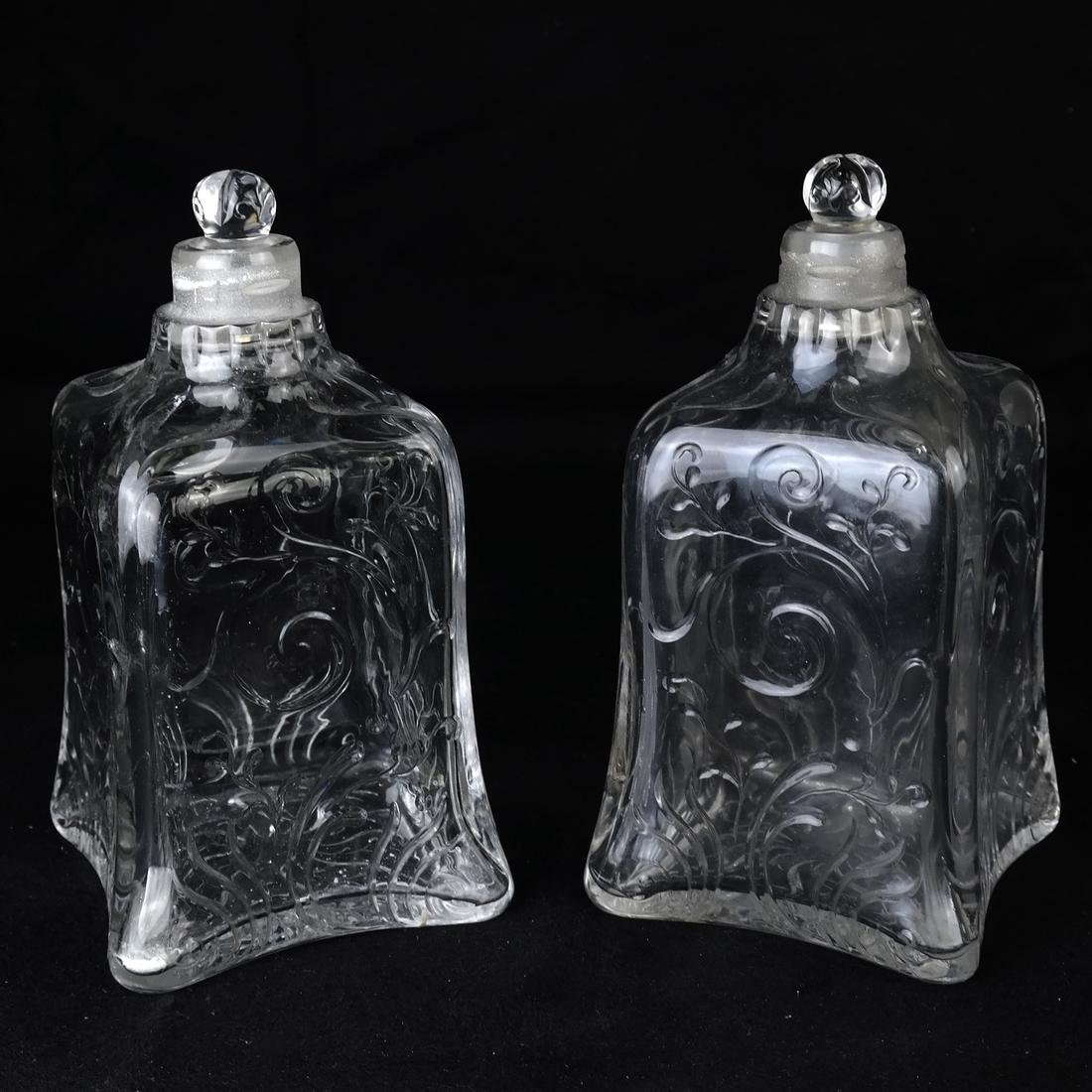 Pair of Engraved Glass Decanters