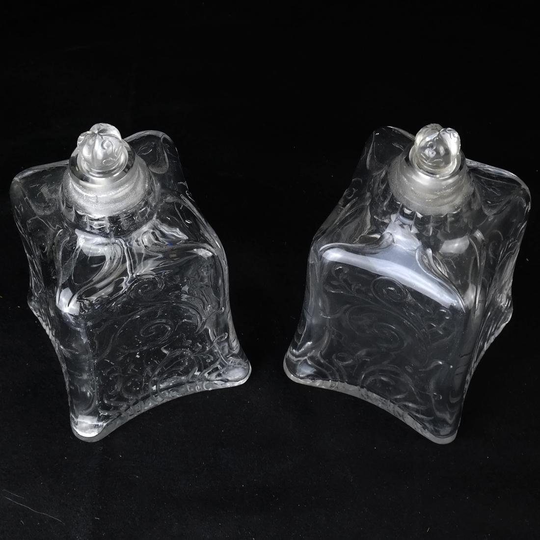 Pair of Engraved Glass Decanters - 2