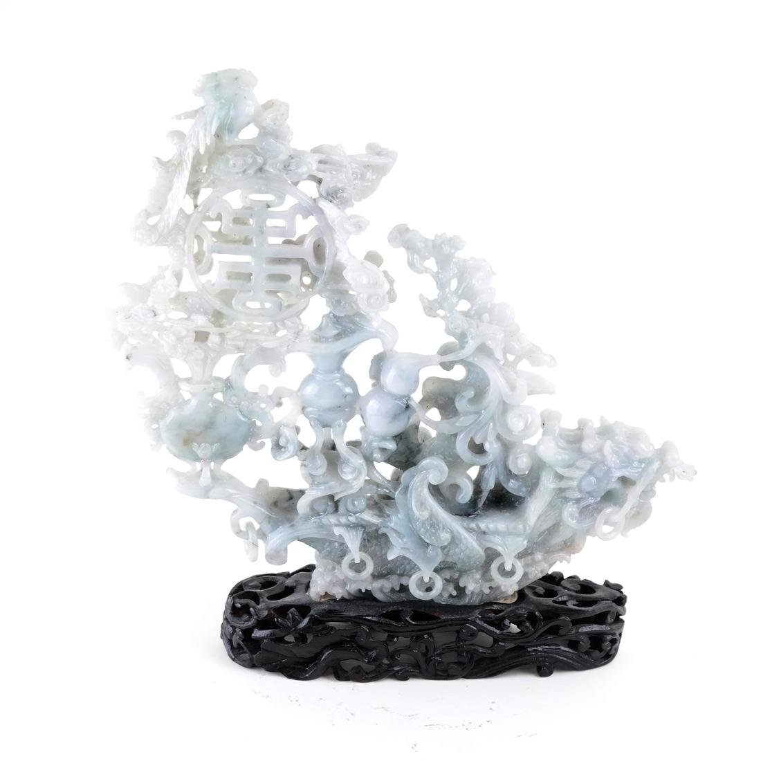 Chinese Carved Jade Dragon Ship - 2
