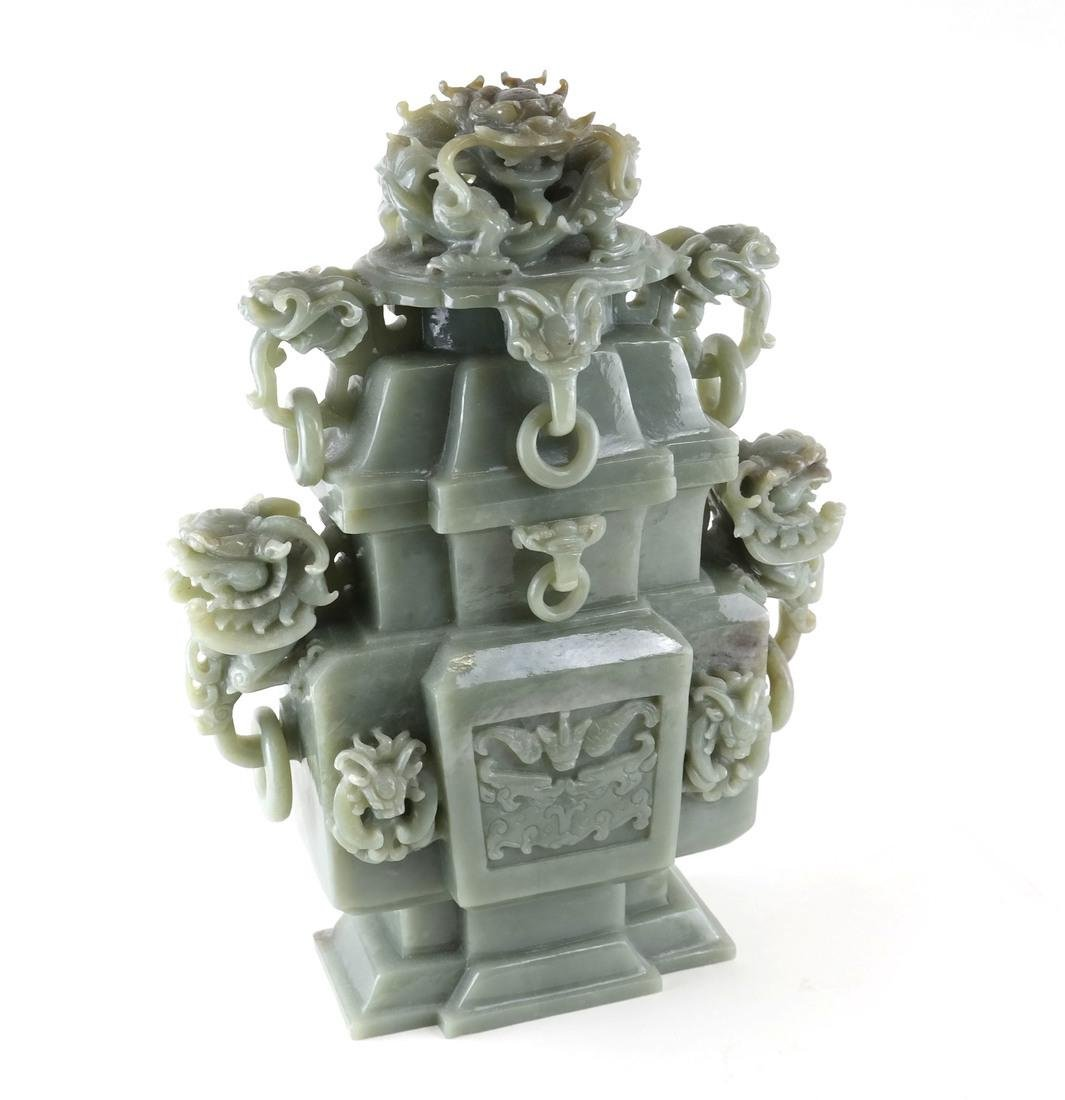 Chinese Carved Green Jade Urn & Cover