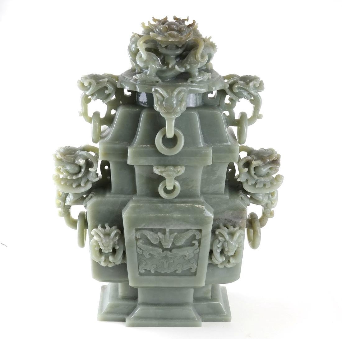 Chinese Carved Green Jade Urn & Cover - 3