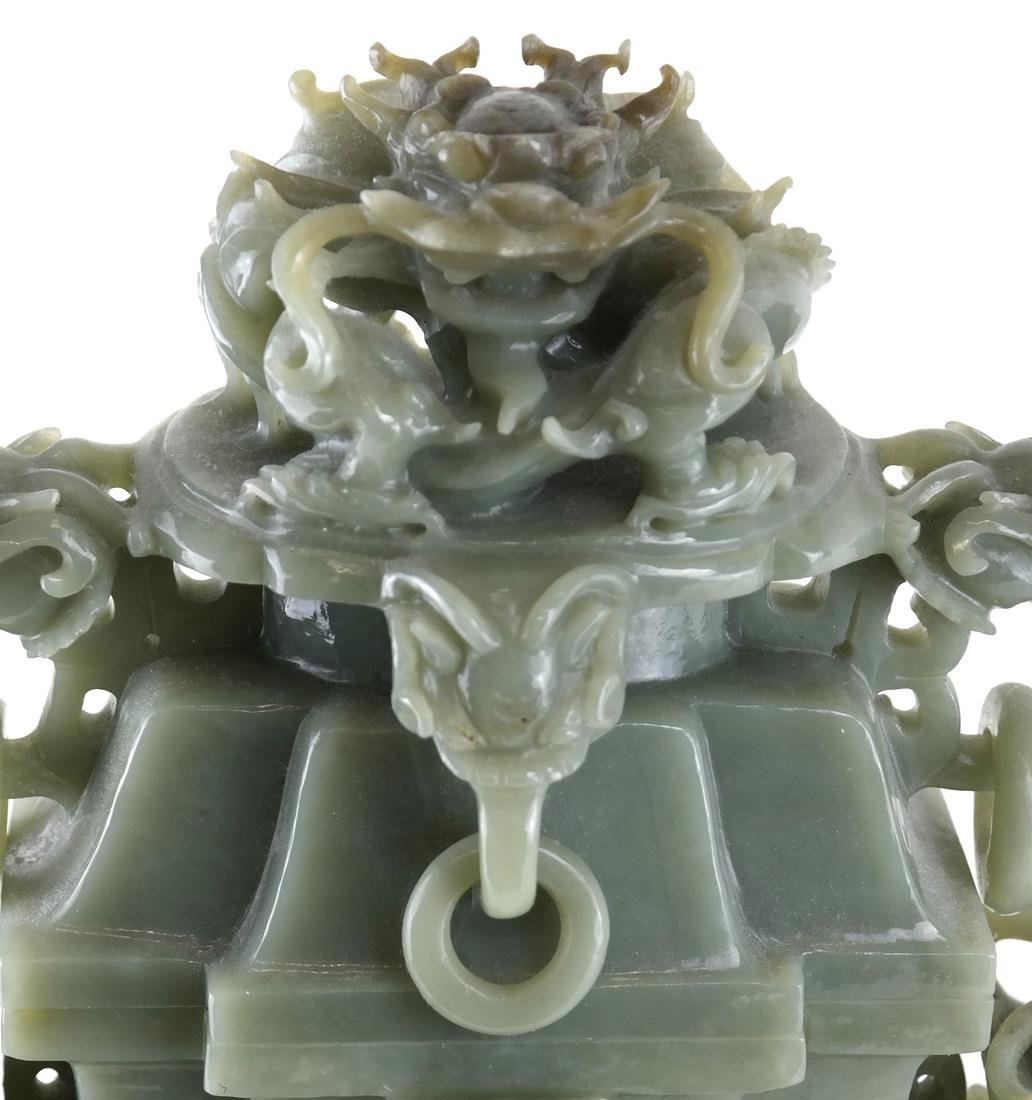 Chinese Carved Green Jade Urn & Cover - 4
