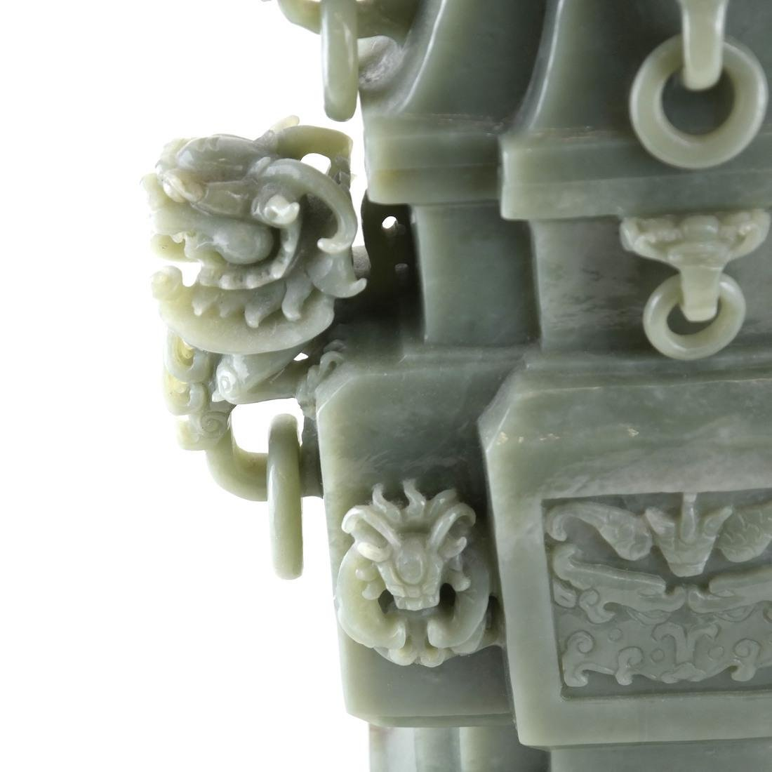 Chinese Carved Green Jade Urn & Cover - 5