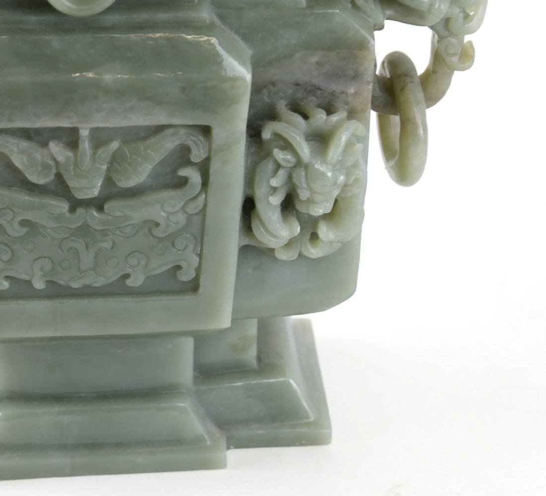 Chinese Carved Green Jade Urn & Cover - 6