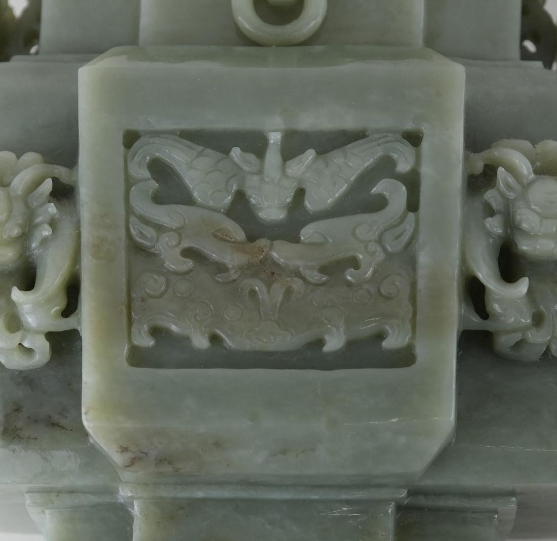 Chinese Carved Green Jade Urn & Cover - 8