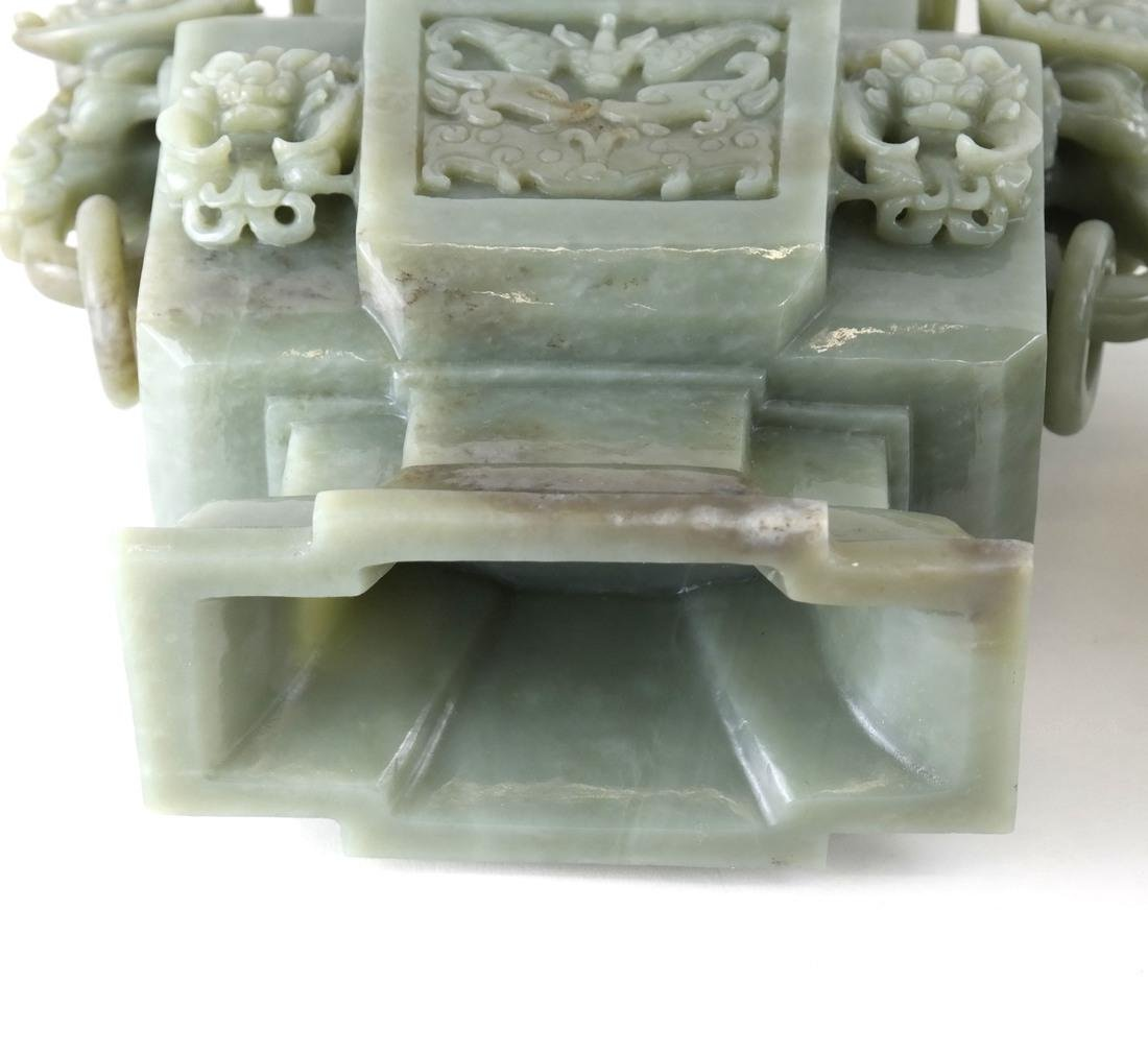 Chinese Carved Green Jade Urn & Cover - 9