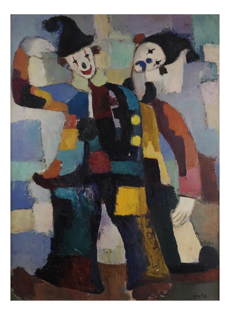 Modernist Clowns, Oil on Board