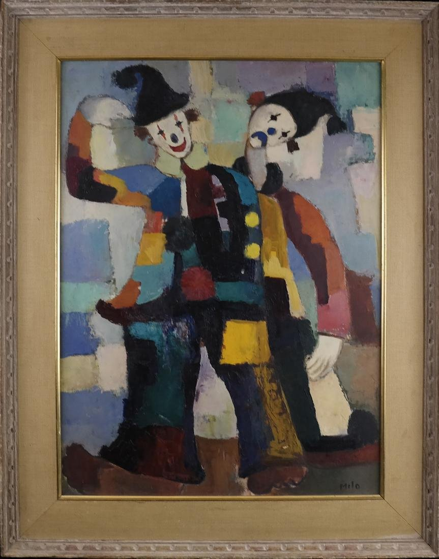 Modernist Clowns, Oil on Board - 2